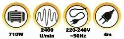 PowerPlus – Langhals Schleifer 710 Watt POWX0476 + Sauger POWX321