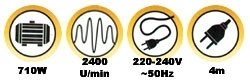 Langhals Schleifer 710 Watt POWX0476 + Sauger POWX323